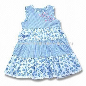 Baby Dress in Blue, Made of 100% Cotton, Customized Colors and Sizes are Accepted