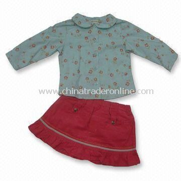 Long Sleeve Blouse, Skirt Set, Front Pockets, Emb. and Velor Ribbon Trims on Skirt, Ruffle Hem