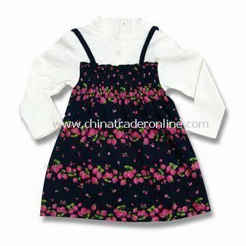 Printed Baby Long-sleeved Dress, Measures 110 to 150cm, Made of Polycarbonate