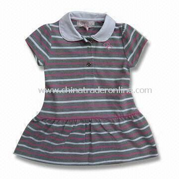 Short-sleeved Dress with Stripes, Suitable for Baby, Measures 76 to 104 and 110 to 150cm