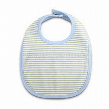 100% Cotton Baby Bib with Stripes, Various Designs and Sizes are Available