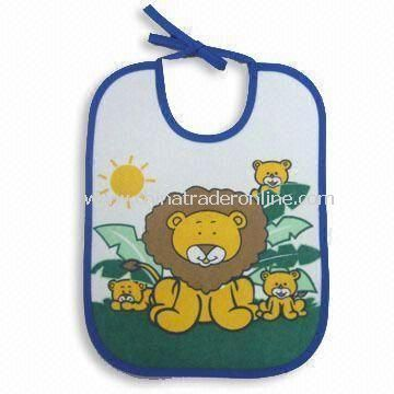 100% Cotton Water-proof Baby Bibs with Printing, Customized Designs are Welcome from China