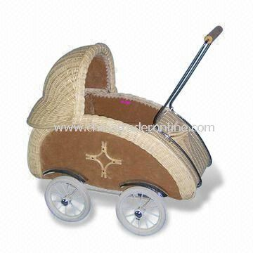 65 x 38 x 63cm Baby Carriage, Made of Rattan, Available with 4 Wheels and One Puller
