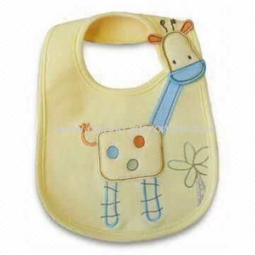 Babies Bib with Round Neck, Made of 100% Cotton Material