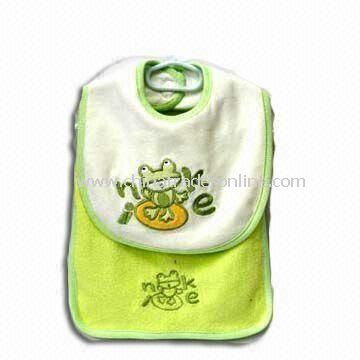 Baby Bib and Towel, Made of Cotton and Polyester, Available in Various Colors