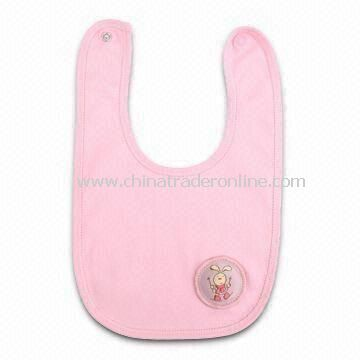Baby Bib in Pink Color, Made of 100% Cotton, Small Orders are Welcome