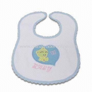 Baby Bib with Applique Embroidery, Made of 100% Cotton, Available in Various Colors