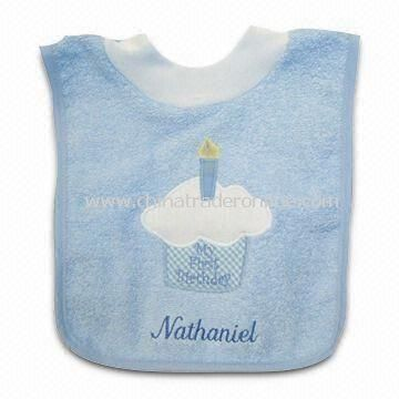 Baby Bib with Birthday Cake Design, Made of Fabric Towel, Measures 33 x 24cm