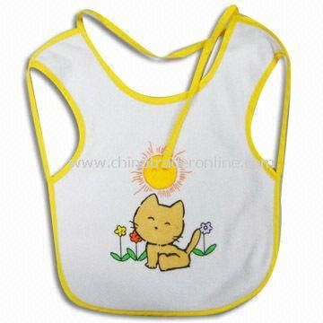 Baby Bib with Printing, Made of 100% Cotton Terry