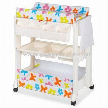 Baby Change Table with Bath and Storage, Two Shelves and Lockable Wheels from China