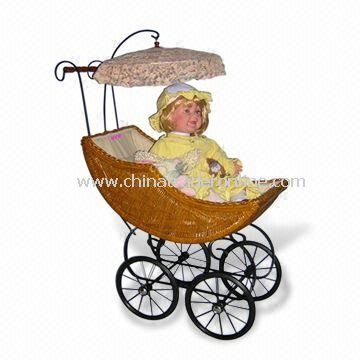 Baby Stroller, Available in Size of 71 x 38 x 87cm, Made of Rattan