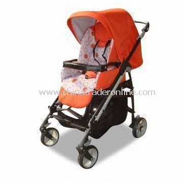 Baby Stroller with Large Storage Basket and Secondary Locking Device