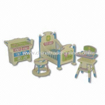 Miniature Furniture, Composed of Baby Walker Toy, Baby High Chair Toy and Baby Furniture Toy