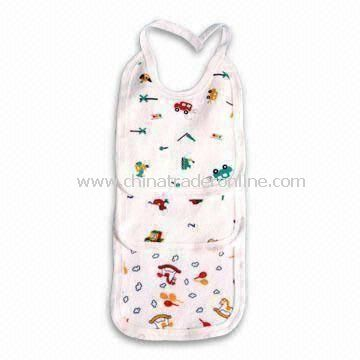 White Baby Bib, Customized Materials, Colors, Sizes, and Logos are Accepted