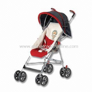 Baby Stroller, Available with Front/Rear Wheels Suspension and Three-point Safety-belt