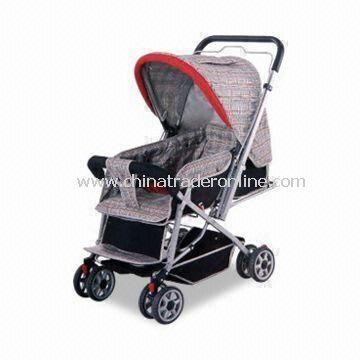 Baby Stroller with Three Position Adjustable Backrest, Can be Adjusted to Flat