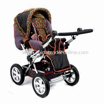 Four-wheel Stroller with Steel Frame, Front and Rear Rod Braking Wheels