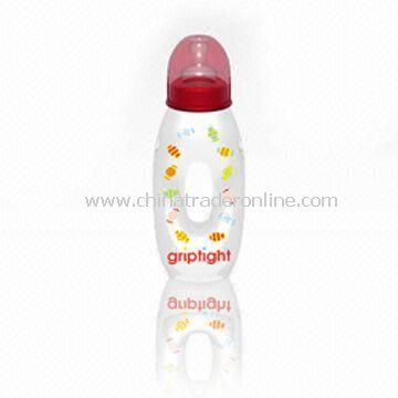 Baby Feeding Bottle with Capacity of 250ml, Made of PC, Various Colors and Printings are Available from China
