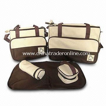 Diaper Bags, Made of Microfiber/210T Polyester Lining, Available in Pink, Blue, Khaki, Coffee Colors from China