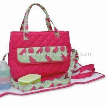 Diaper Carry Bag, Made of Printed 70D Polyester and Textured Fabric