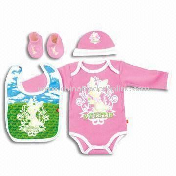 Baby Gift Set, Includes Blanket, Gloves, Shoes and Hat, Made of Cotton