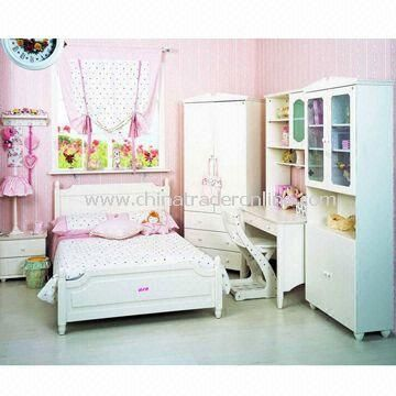 Childrens Bedding Set, Made of Solid Wood, Includes Wardrobe and Night Stand