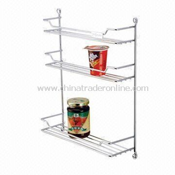 3-Tier Spice Botlle Rack with Fixing Screws, Steel in Chrome Plated
