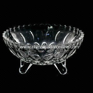 Crystal Glass Candy Dish/Fruit Bowl with 1.831kg Weight, Measures 19.0 x 19.0 x 9.0cm