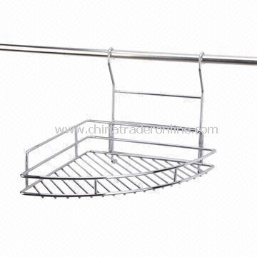 Single-tier Corner Shelf Spice Rack with Chrome Plating and Steel Wire