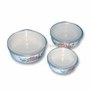 Storage Bowls with Plastic Cover, Measures 12 to 16cm