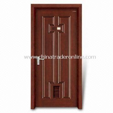 Wooden Interior Door with 40mm Thickness, Window Panel and Computer Relievo/Engrave Surface from China