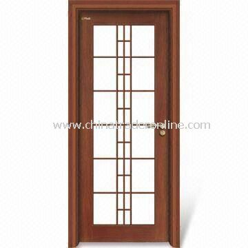 Wooden Interior Door with Window Panel, Customized Specifications, Computer Relievo/Engrave Surface