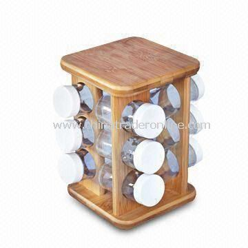 Bamboo Spice Rack with Naturally Resistance to Bacteria and Odor, Customized Designs Welcomed from China