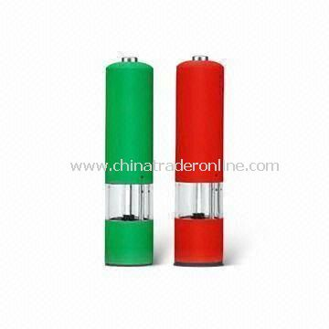 Electric Salt and Pepper Mills, Measures 52 x 225mm, Powered by 4 Pieces x AA Batteries