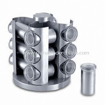Revolving Spice Rack with 12pcs Condiment Stainless Steel Jars, Made of 18/0SS Material
