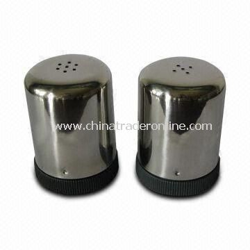 Salt and Pepper Shakers with 0.4mm Thickness and Beautiful Design, Made of Stainless Steel, Durable