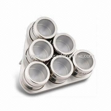 Stainless Steel Magnetic Spice Rack, Measures 21 x 21 x 6cm with 6pcs Condiment Jars from China