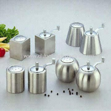Stainless Steel Salt and Pepper Set in Round, Cylinder, Boxlike and Cone Shapes