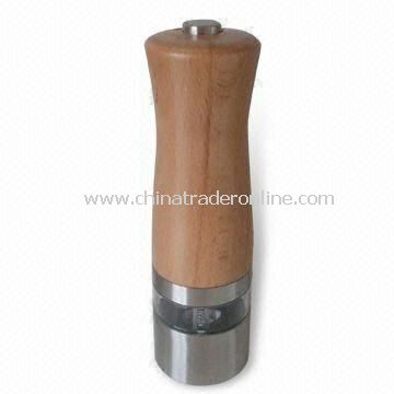 Electric Salt and Pepper Mill Set, Made of Wood and Stainless Steel in Simple Acrylic Design