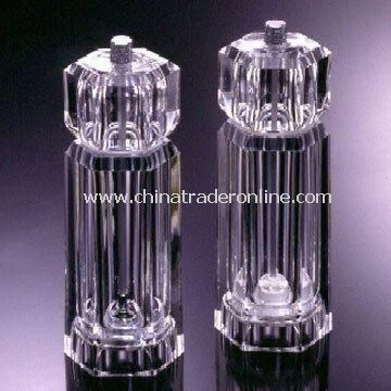 Hexagon Pepper Mills, Made of Acrylic, Measures 6.0 x 5.0 x 16.0cm