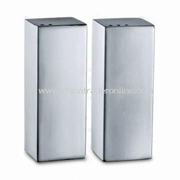 Stainless Steel Salt and Pepper Holder, Measuring 30 x 30 x 79mm