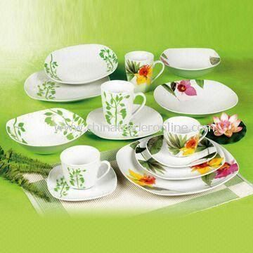 16-piece Square Dinnerware Set, Made of Porcelain, OEM Orders Welcomed