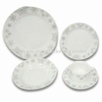 30-piece Porcelain Dinner Plate with Decal in Wing Shape, Measures 26.5cm