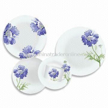 30 Pieces Porcelain Dinner Set with Round Shape Decal Plates, Microwave Safe