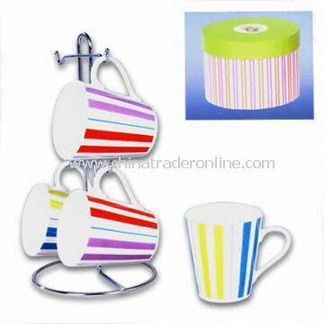 4-Piece Porcelain Cup Set with Color Strip Decorations, Available for ODM Services