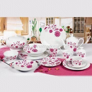 47-piece Round Porcelain Dinnerware Set, Available in Various Sizes