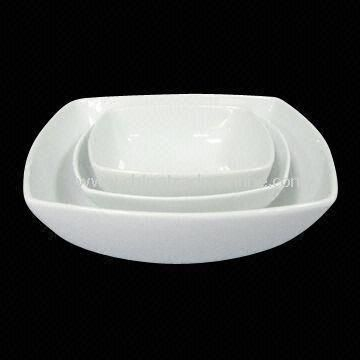 5.75/7/9.2-inch Porcelain Square Bowls, Come in White, FDA Certified