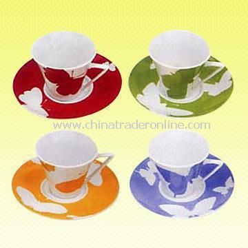High-quality Super-white Porcelain Cup and Saucer with Butterfly Pattern