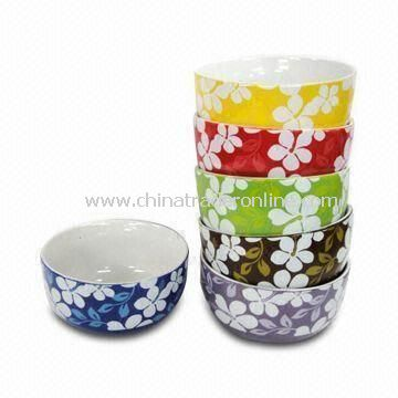 Porcelain Bowl in Flower Design, Customized Logos are Accepted