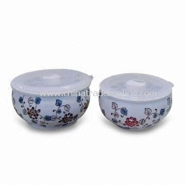 Porcelain bowls with High Firing Porcelain and Under-glazed Hand-printed